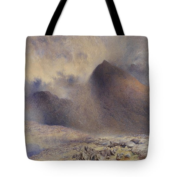 Mount Snowdon Through Clearing Clouds Tote Bag by Alfred William Hunt