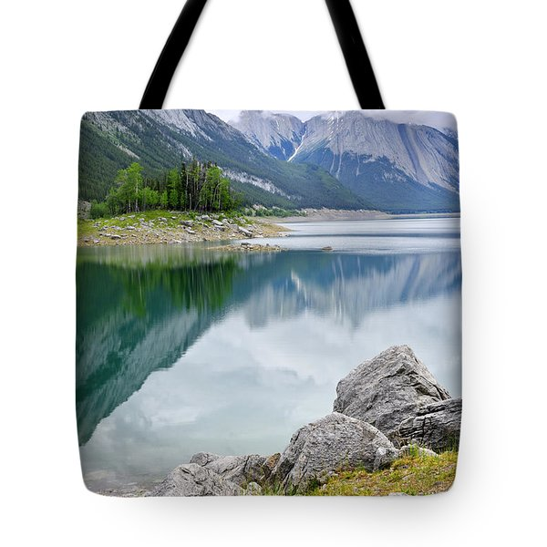 Mountain lake in Jasper National Park Tote Bag by Elena Elisseeva