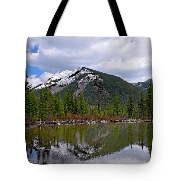 Mountain Pond Reflection Tote Bag by Roderick Bley