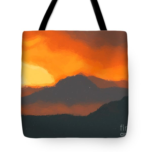 Mountain Sunset Tote Bag by Pixel  Chimp