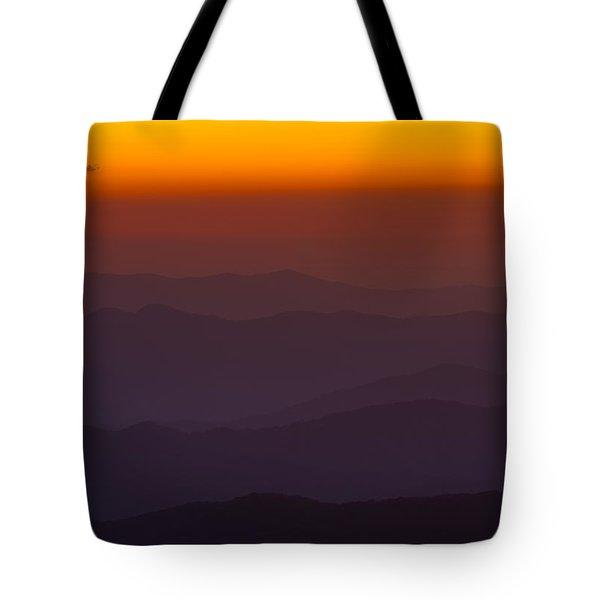Mountain Sunset Tote Bag by Steve Gadomski