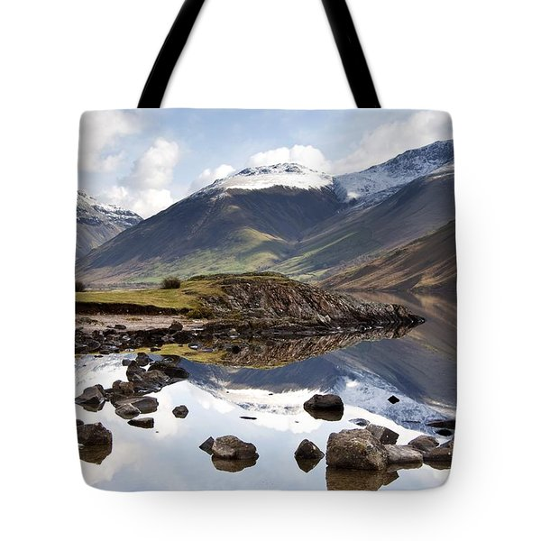 Mountains And Lake At Lake District Tote Bag by John Short