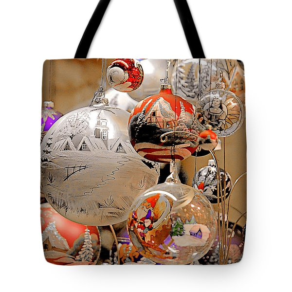 Mouth-blown hand painted Christmas Ornaments Tote Bag by Christine Till
