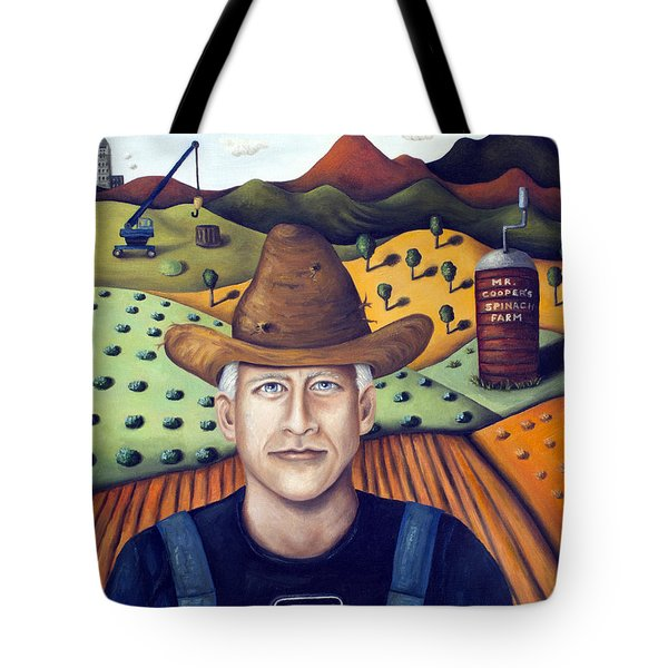 Mr Cooper's Spinach Farm Tote Bag by Leah Saulnier The Painting Maniac