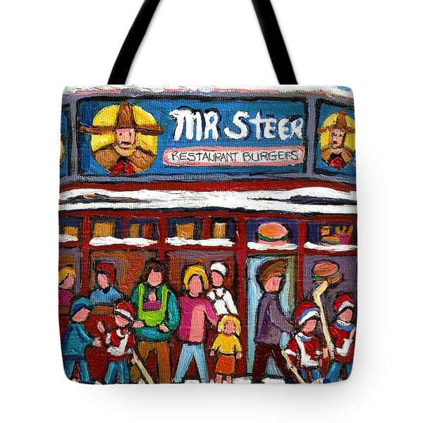 Mr Steer Restaurant Montreal Tote Bag by Carole Spandau