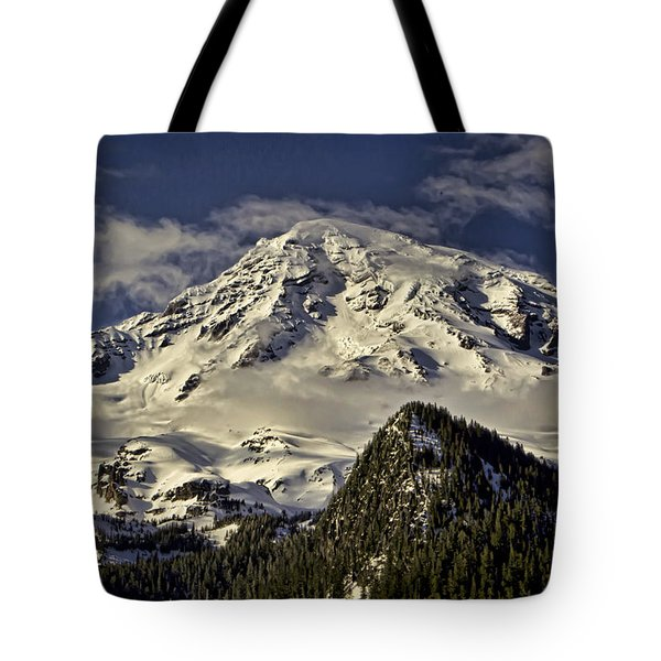 Mt Rainier Tote Bag by Heather Applegate