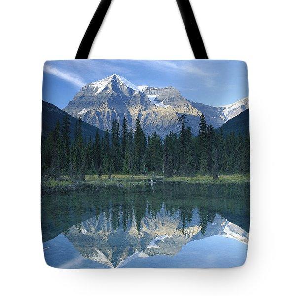 Mt Robson Highest Peak In The Canadian Tote Bag by Tim Fitzharris