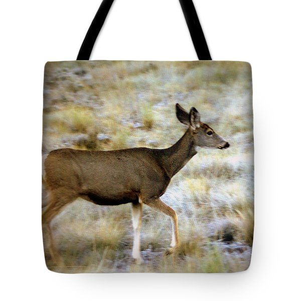 Mule Deer On The Move Tote Bag by Marty Koch