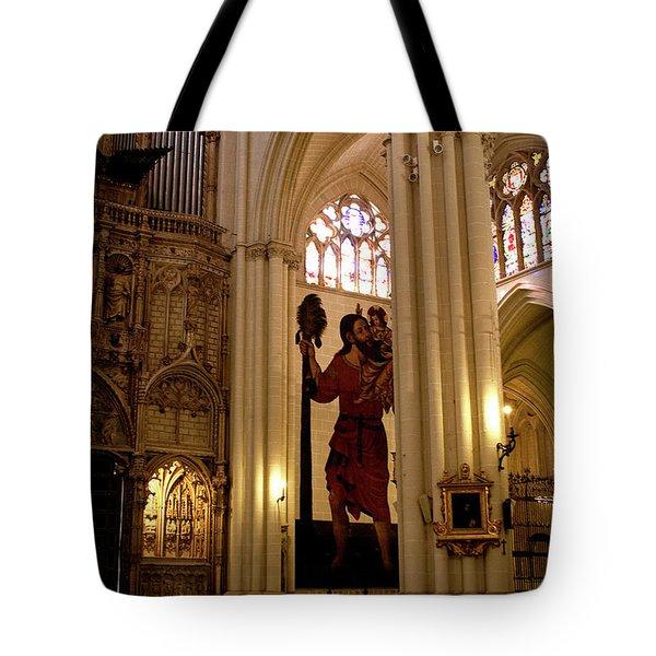 Mural of Saint Christopher and Baby Jesus Tote Bag by Lorraine Devon Wilke