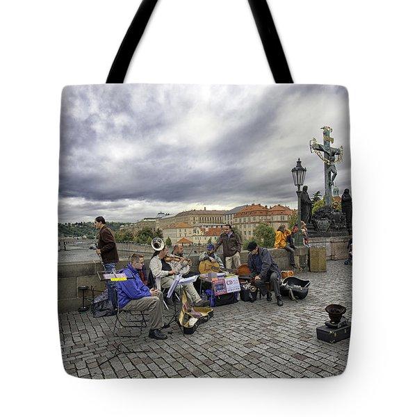 Musicians On The Charles Bridge - Prague Tote Bag by Madeline Ellis