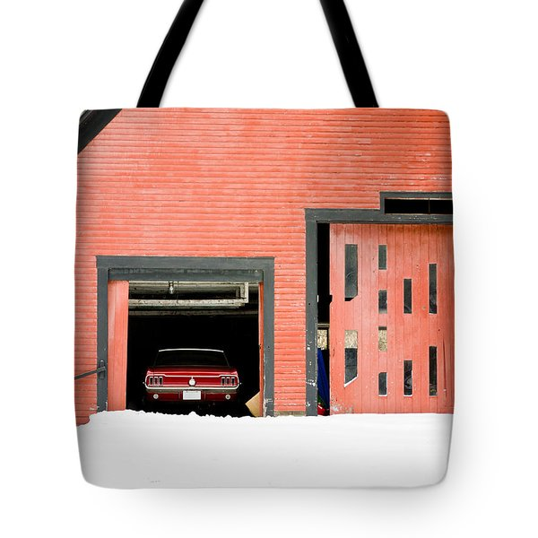 Mustang Car Barn Tote Bag by Edward Fielding