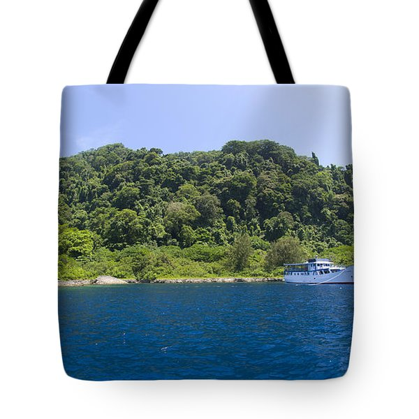 Mv Spirit Of Solomons Moored In Front Tote Bag by Steve Jones