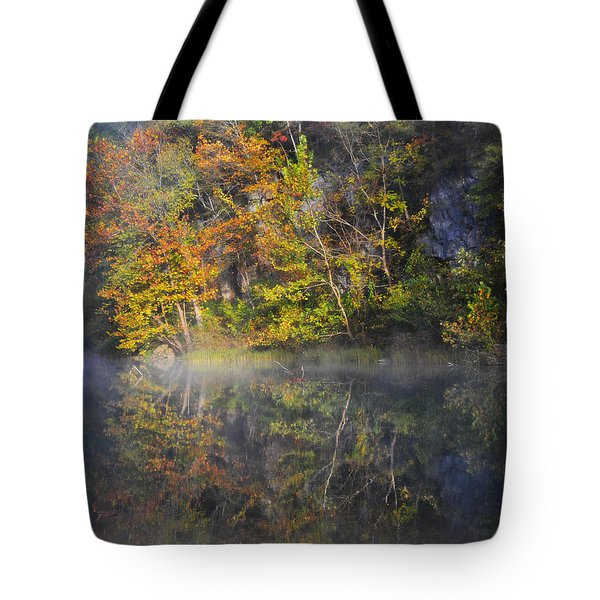 Mysty Morn On The Current Tote Bag by Marty Koch