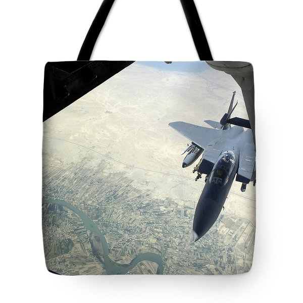 N F-15e Strike Eagle Receives Fuel Tote Bag by Stocktrek Images