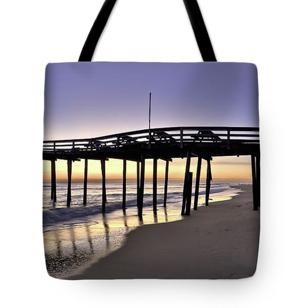 Nags Head Fishing Pier at Sunrise - Outer Banks Scenic Photography Tote Bag by Rob Travis