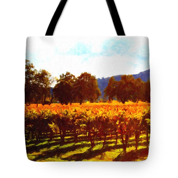 Napa Valley Vineyard in Autumn Colors 2 Tote Bag by Wingsdomain Art and Photography