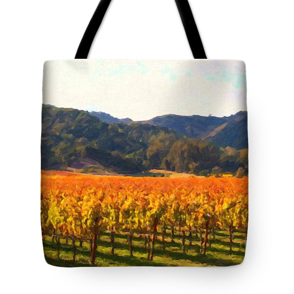 Napa Valley Vineyard in Autumn Colors Tote Bag by Wingsdomain Art and Photography