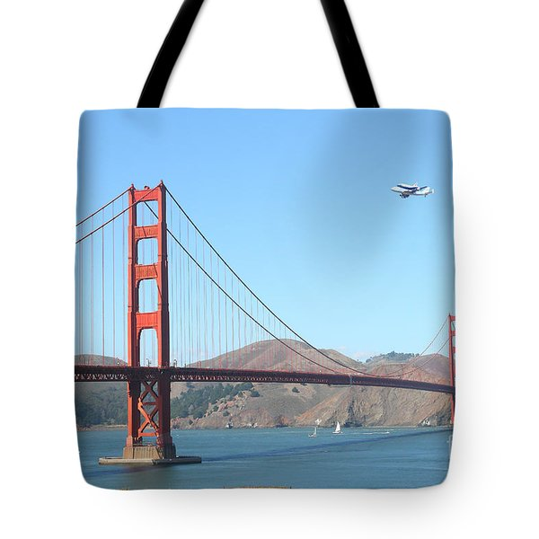 NASA Space Shuttle's Final Hurrah Over The San Francisco Golden Gate Bridge Tote Bag by Wingsdomain Art and Photography