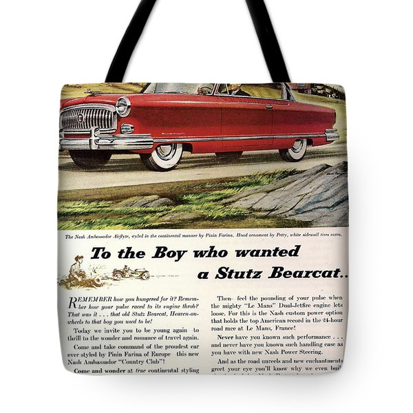 Nash Ambassador 1953 Tote Bag by Nomad Art And  Design