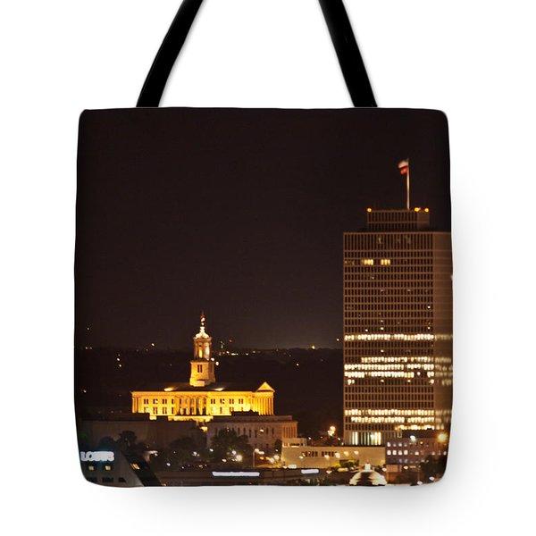 Nashville Cityscape 5 Tote Bag by Douglas Barnett