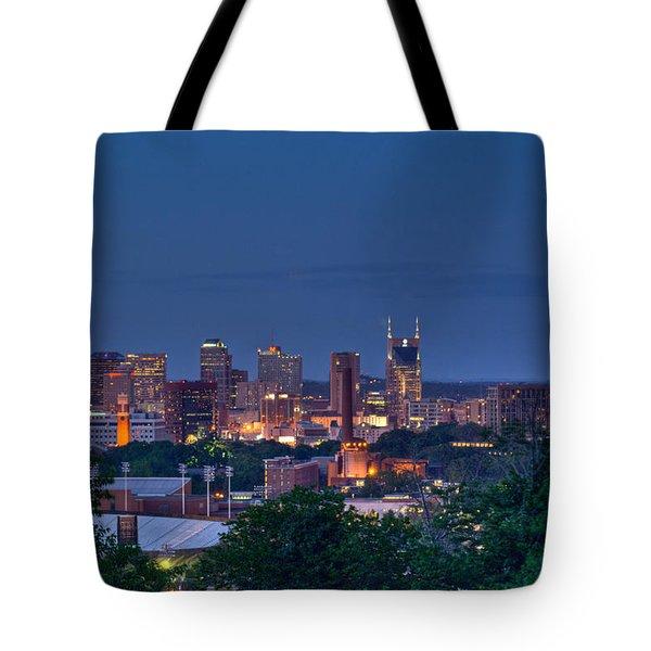 Nashville Cityscape 7 Tote Bag by Douglas Barnett