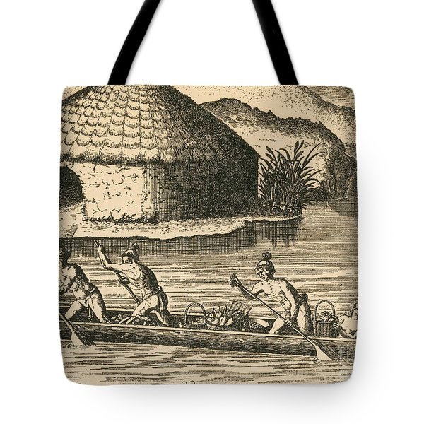 Native Americans Transporting Crops Tote Bag by Photo Researchers