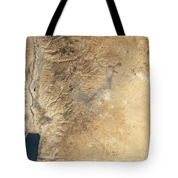 Natural-color Satellite View Of Amman Tote Bag by Stocktrek Images