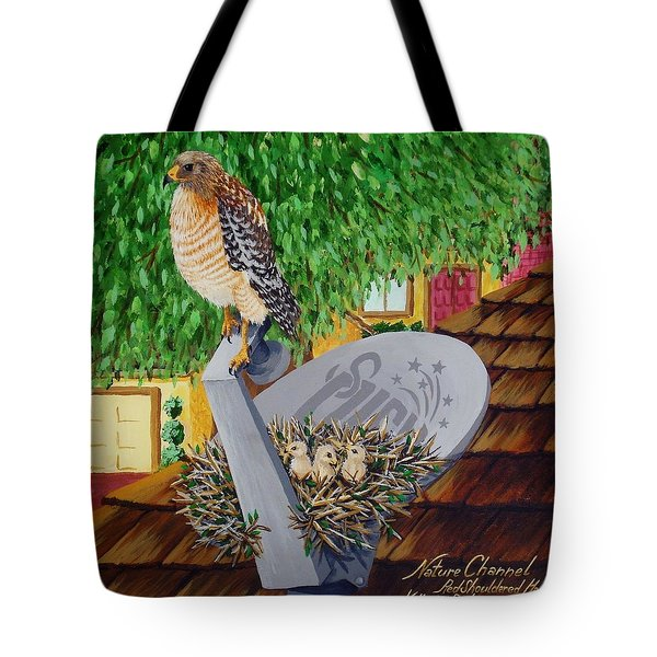 Nature Channel- Red Shouldered Hawk Tote Bag by Katherine Young-Beck