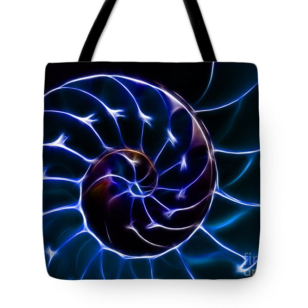 Nautilus Shell - Electric - v2 - Blue Tote Bag by Wingsdomain Art and Photography