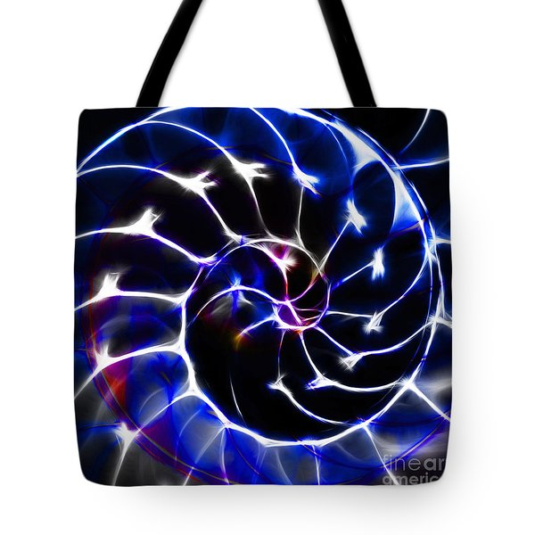 Nautilus Shell Ying and Yang - Electric - v1 - Blue Tote Bag by Wingsdomain Art and Photography