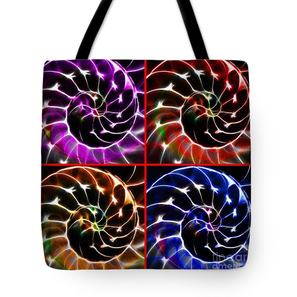 Nautilus Shell Ying and Yang - Electric - v1 - Four Squares Tote Bag by Wingsdomain Art and Photography