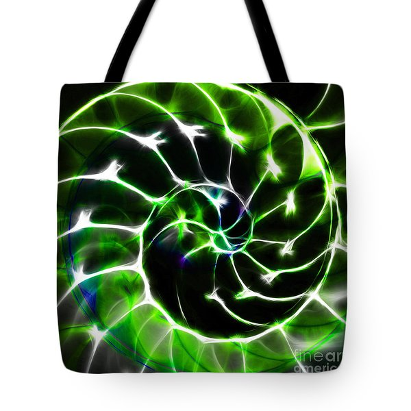 Nautilus Shell Ying and Yang - Electric - v1 - Green Tote Bag by Wingsdomain Art and Photography