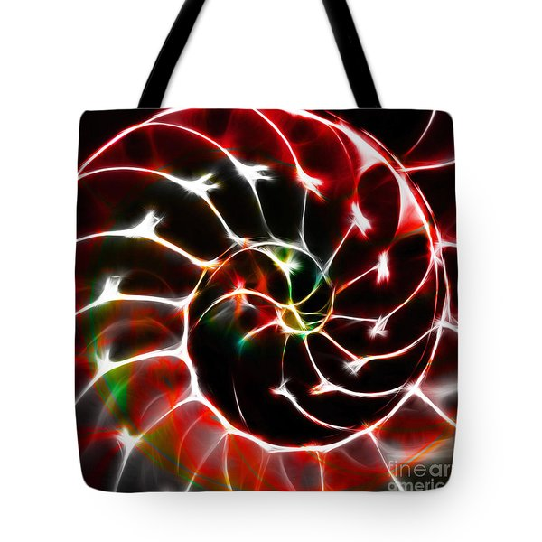 Nautilus Shell Ying and Yang - Electric - v1 - Red Tote Bag by Wingsdomain Art and Photography