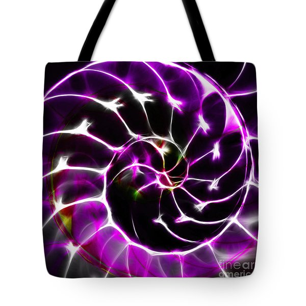 Nautilus Shell Ying and Yang - Electric - v1 - Violet Tote Bag by Wingsdomain Art and Photography