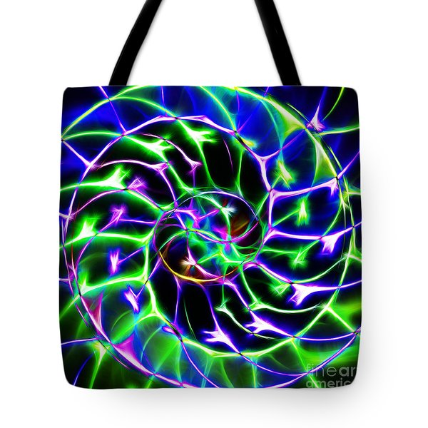 Nautilus Shell Ying and Yang - Electric - v2 - Blue-Green Tote Bag by Wingsdomain Art and Photography