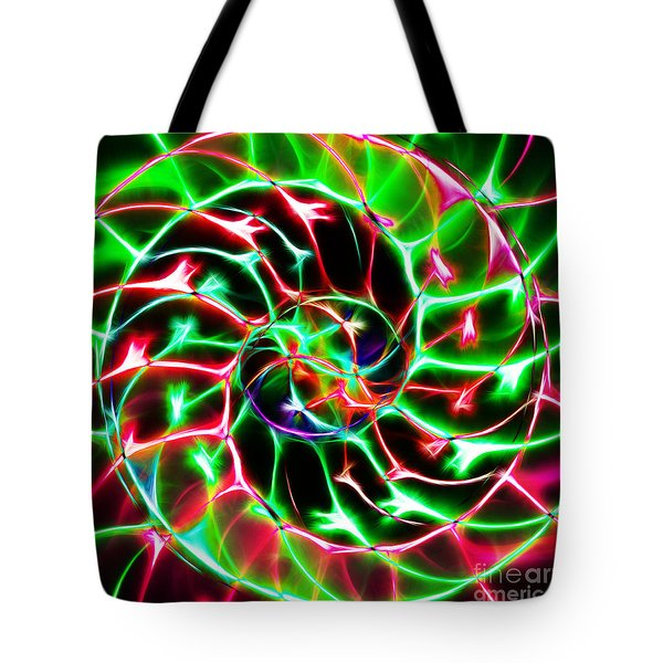 Nautilus Shell Ying and Yang - Electric - v2 - Green Tote Bag by Wingsdomain Art and Photography