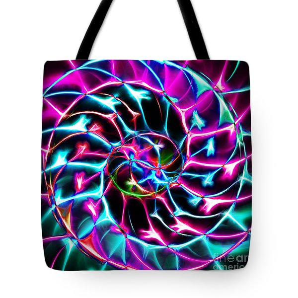 Nautilus Shell Ying and Yang - Electric - v2 - Violet Tote Bag by Wingsdomain Art and Photography