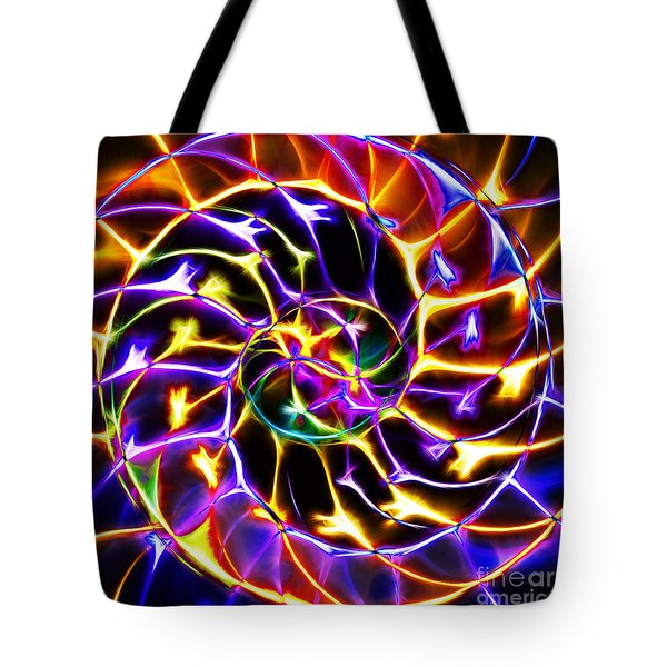 Nautilus Shell Ying And Yang - Electric - V2 - Yellow-purple Tote Bag by Wingsdomain Art and Photography