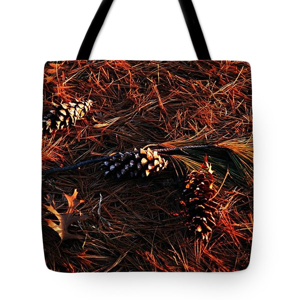 Needles Cones And Oak Leaf Tote Bag by Larry Ricker
