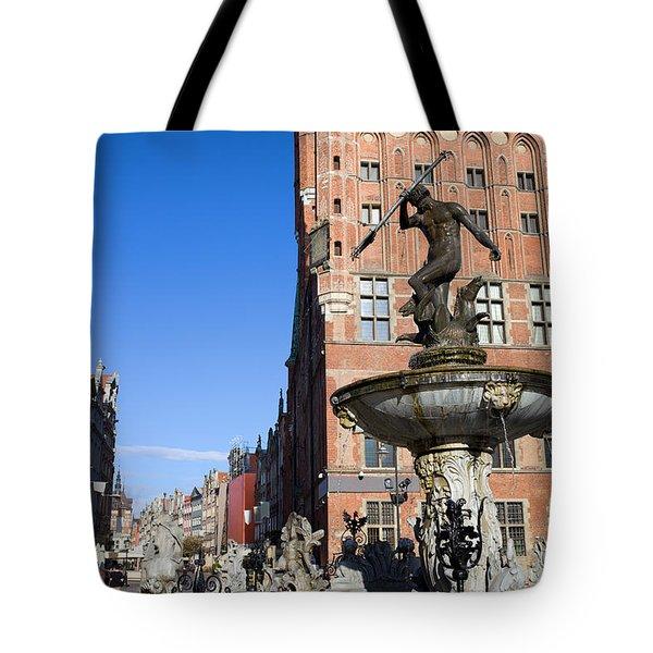 Neptune Fountain In Gdansk Tote Bag by Artur Bogacki