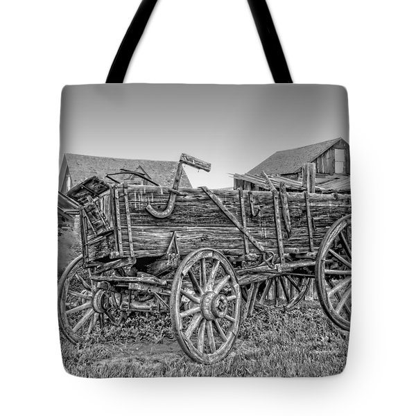 Nevada City Montana Freight Wagon Tote Bag by Daniel Hagerman