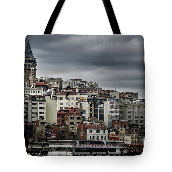 New District Skyline Tote Bag by Joan Carroll