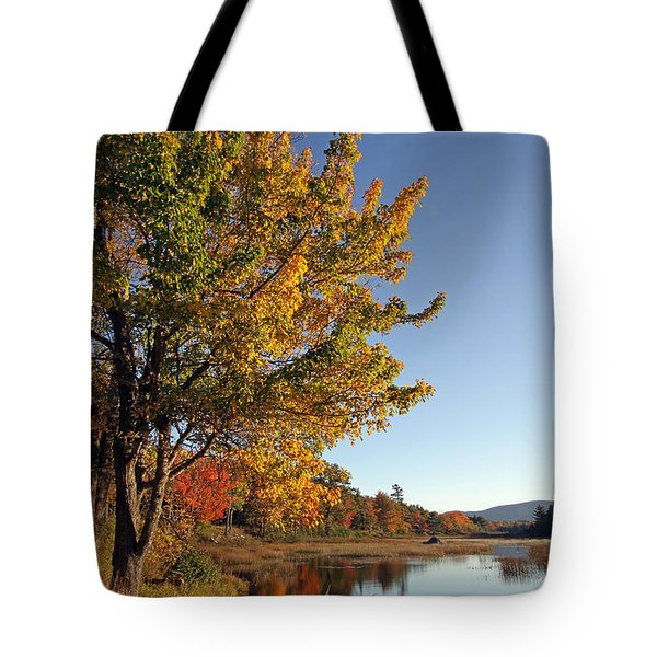 New Mills Meadow Pond Tote Bag by Juergen Roth