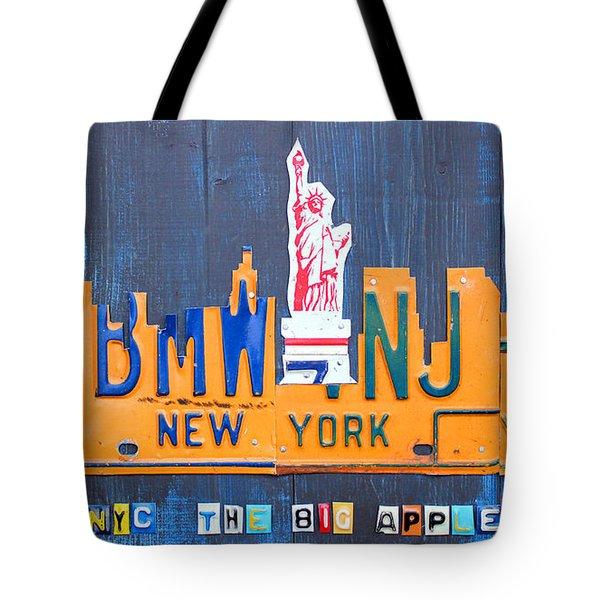New York City Skyline License Plate Art Tote Bag by Design Turnpike