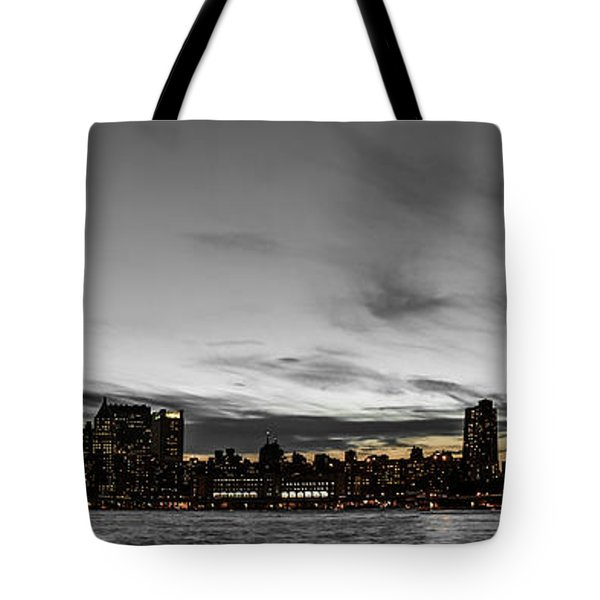 New Yorks Skyline At Night Colorkey Tote Bag by Hannes Cmarits