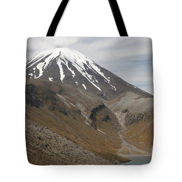 Ngauruhoe Cone And Upper Tama Lake Tote Bag by Richard Roscoe