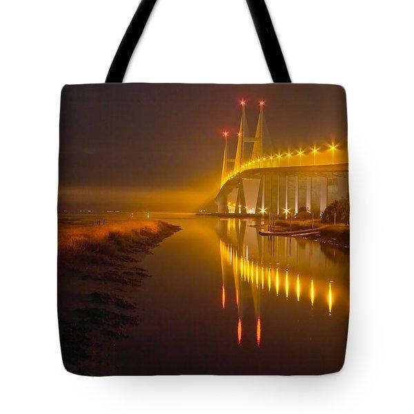 Night Lights Tote Bag by Debra and Dave Vanderlaan