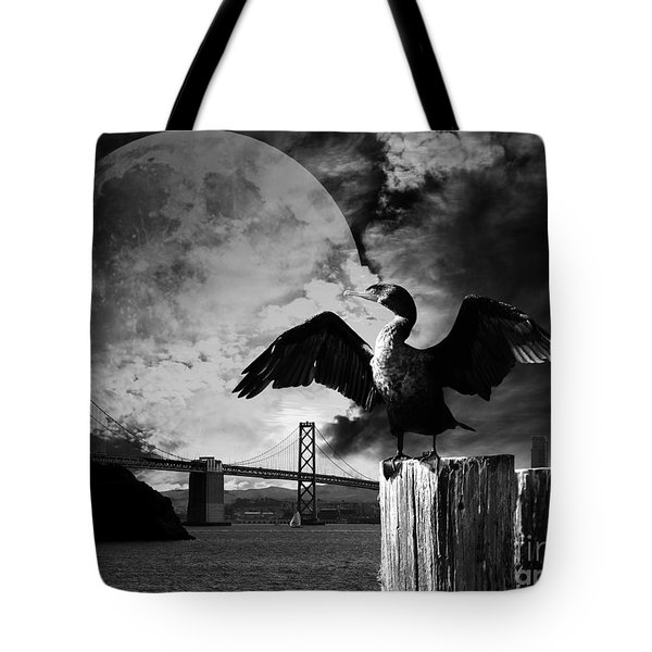 Night of The Cormorant . Black and White Tote Bag by Wingsdomain Art and Photography