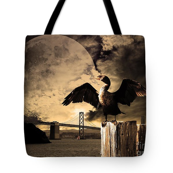Night Of The Cormorant Tote Bag by Wingsdomain Art and Photography
