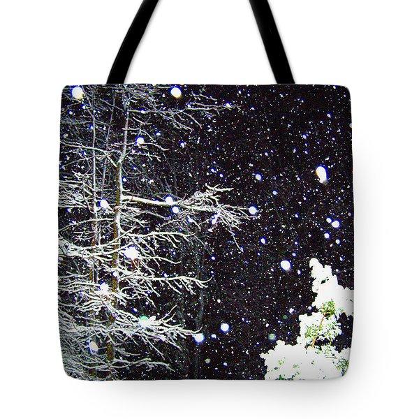 Night Snow Tote Bag by Sandi OReilly